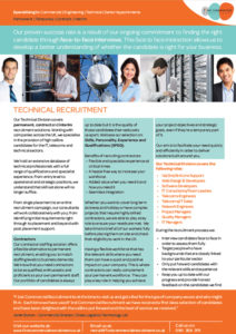 Technical recruitment brochure page